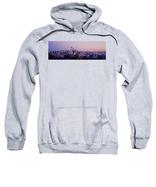 High Angle View Of A City At Sunrise Sweatshirt