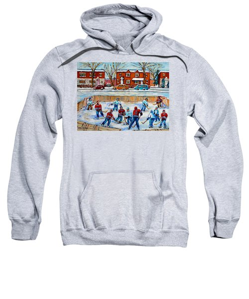 Hockey Rink At Van Horne Montreal Sweatshirt