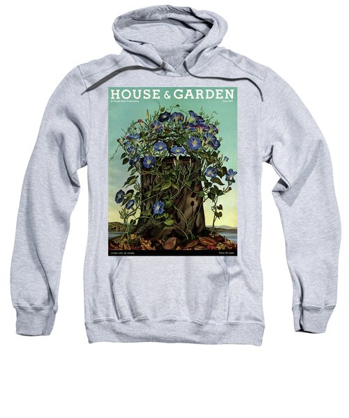 House And Garden Cover Featuring Flowers Growing Sweatshirt
