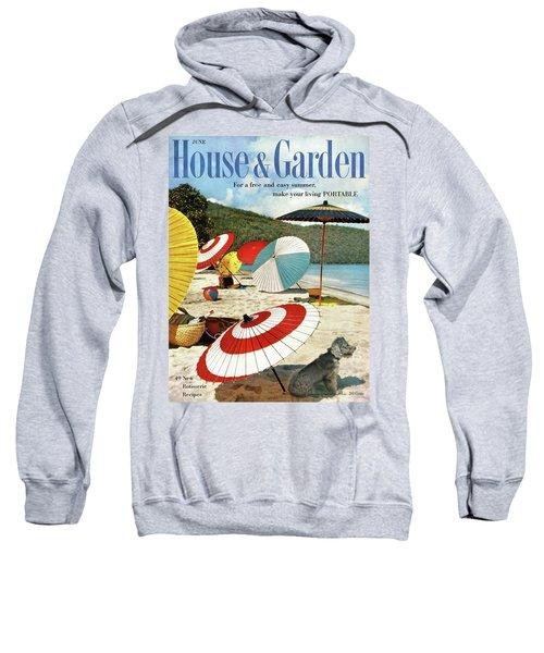 House And Garden Featuring Umbrellas On A Beach Sweatshirt