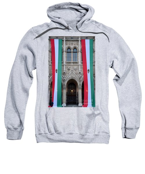 Hungary Flag Hanging At Parliament Budapest Sweatshirt