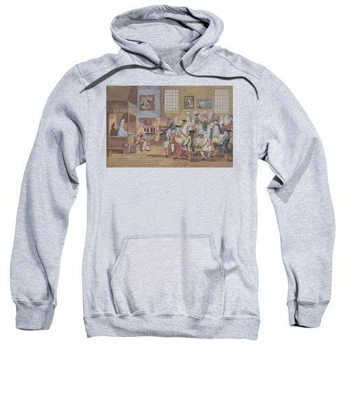 Interior Of A London Coffee House, C.1650-1750 Wc On Paper Sweatshirt