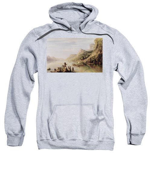 Jacques Cartier 1491-1557 Discovering The St. Lawrence River In 1535, 1847 Oil On Canvas Sweatshirt