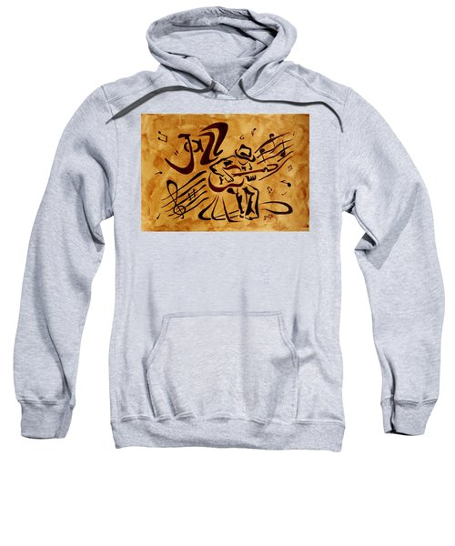 Sweatshirt featuring the painting Jazz Abstract Coffee Painting by Georgeta  Blanaru