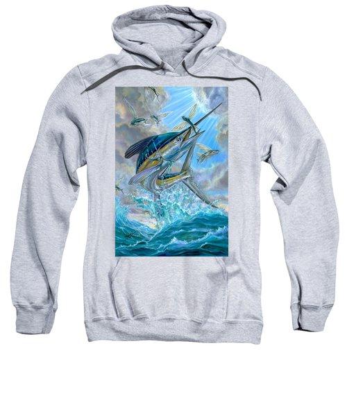 Jumping White Marlin And Flying Fish Sweatshirt