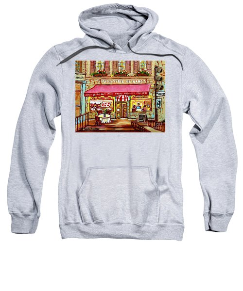 La Patisserie De Nancy French Pastry Boulangerie Paris Style Sidewalk Cafe Paintings Cityscene Art C Sweatshirt