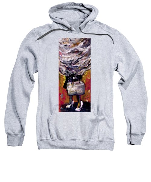 Lady With Suitcase And Storm Cloud Sweatshirt
