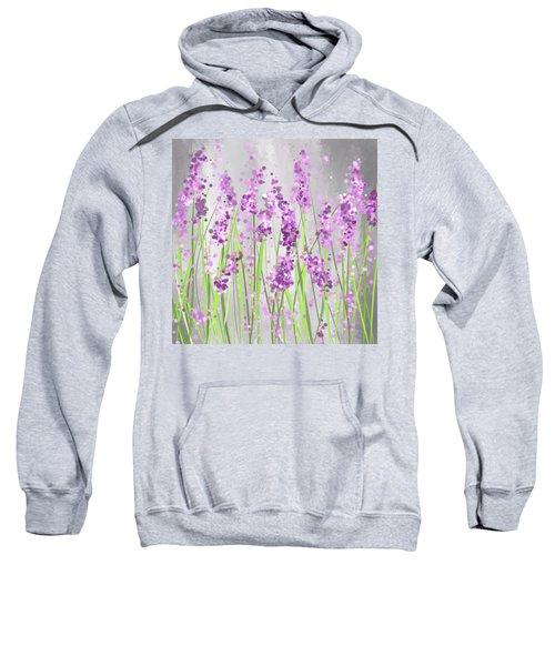 Lavender Blossoms - Lavender Field Painting Sweatshirt
