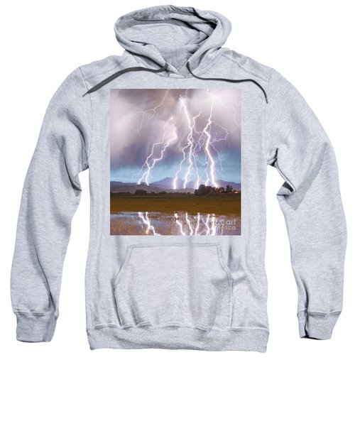 Lightning Striking Longs Peak Foothills 4c Sweatshirt