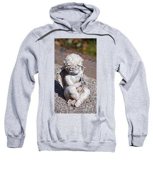 Little Angel With Bird In His Hand - Sculpture Sweatshirt