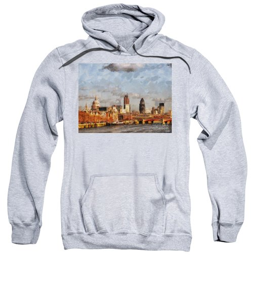 London Skyline From The River  Sweatshirt by Pixel Chimp
