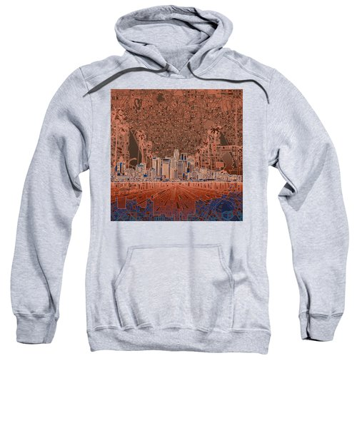 Los Angeles Skyline Abstract 7 Sweatshirt by Bekim Art