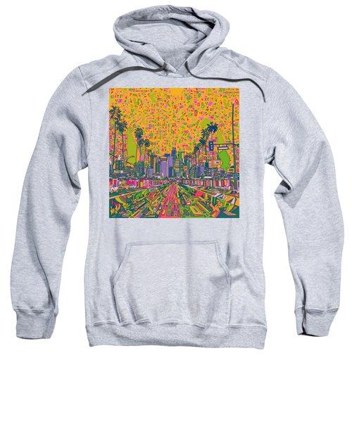 Los Angeles Skyline Abstract Sweatshirt by Bekim Art