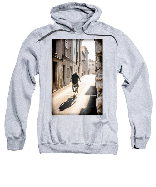 Man Riding Bicycle In Street In Puerto Pollenca Sweatshirt