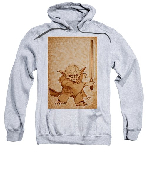 Sweatshirt featuring the painting Master Yoda Jedi Fight Beer Painting by Georgeta  Blanaru
