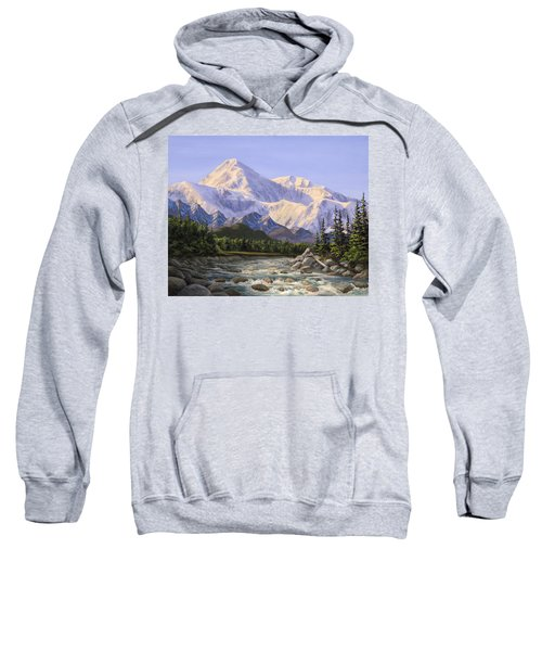 Majestic Denali Mountain Landscape - Alaska Painting - Mountains And River - Wilderness Decor Sweatshirt