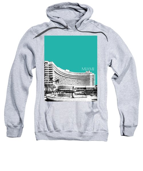 Miami Skyline Fontainebleau Hotel - Teal Sweatshirt