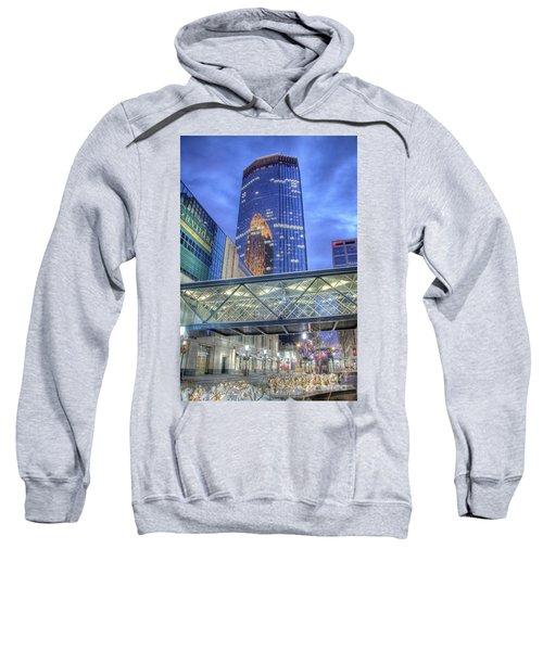 Minneapolis Skyline Photography Nicollet Mall Winter Evening Sweatshirt