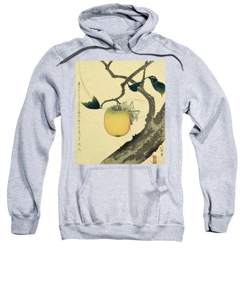 Moon Persimmon And Grasshopper Sweatshirt by Katsushika Hokusai
