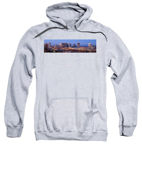 Nashville Skyline At Dusk Panorama Color Sweatshirt by Jon Holiday