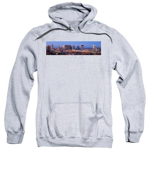 Nashville Skyline At Dusk Panorama Color Sweatshirt