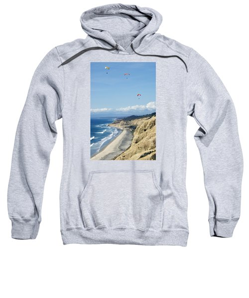 Hanggliding Above The Pacific Ocean And Mountains 10 Sweatshirt
