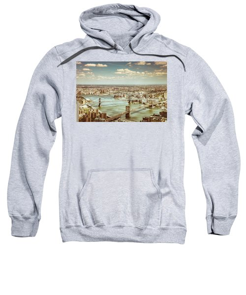 New York City - Brooklyn Bridge And Manhattan Bridge From Above Sweatshirt by Vivienne Gucwa
