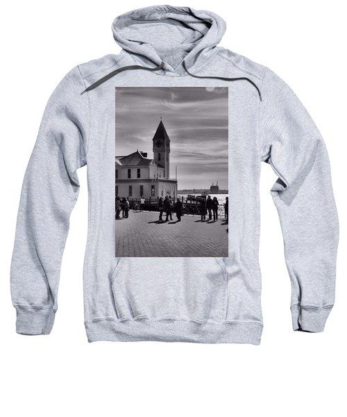 New York Harbor In Black And White Sweatshirt