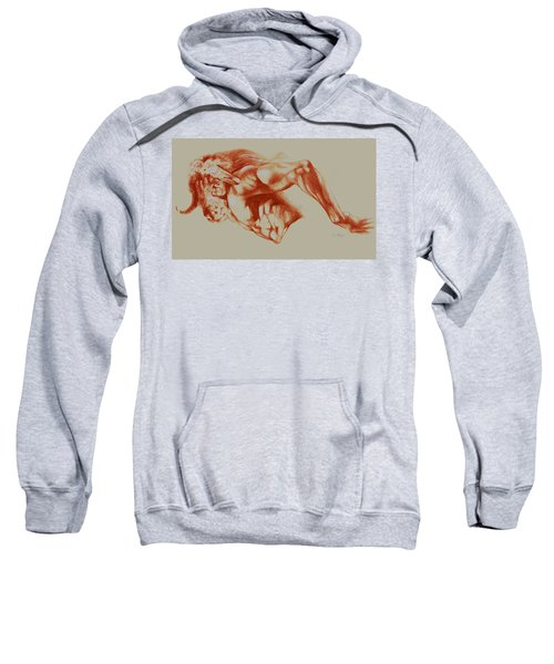 North American Minotaur Red Sketch Sweatshirt by Derrick Higgins