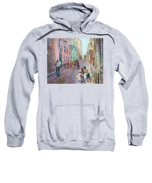 Old Havana Street Life - Sale - Large Scenic Cityscape Painting Sweatshirt