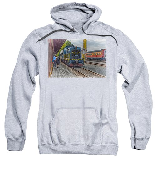Sweatshirt featuring the photograph Old Town Sacramento Railroad by Jim Thompson