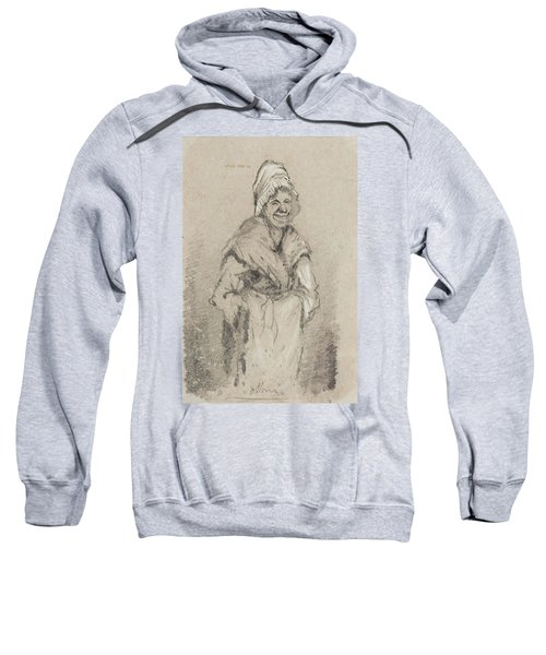Old Woman From Normandy Full Face Pencil On Paper Sweatshirt