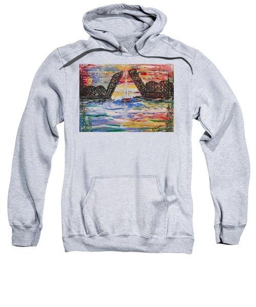 On The Hour. The Sailboat And The Steel Bridge Sweatshirt