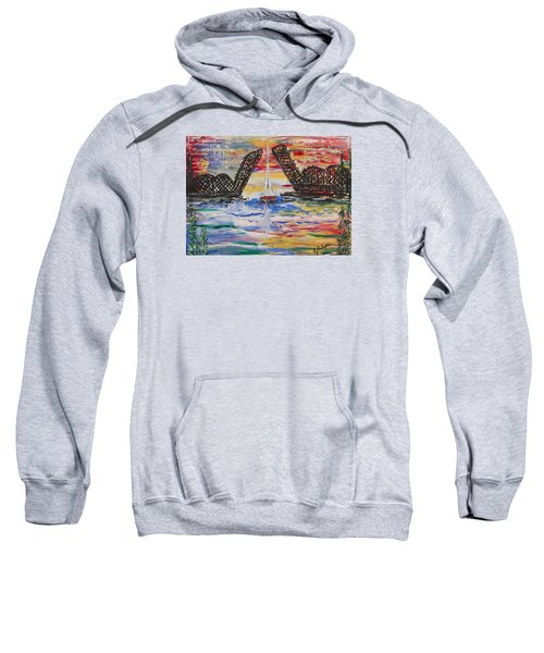 On The Hour. The Sailboat And The Steel Bridge Sweatshirt