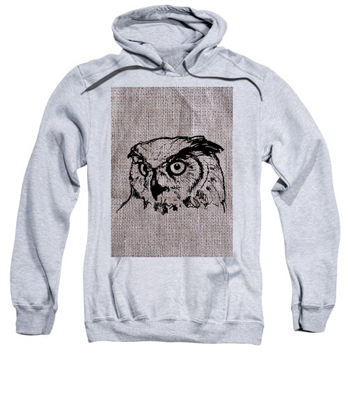 Owl On Burlap Sweatshirt