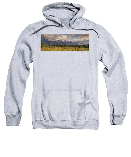 Panaroma Clearing Storm On A Fall Morning In Grand Tetons National Park Sweatshirt