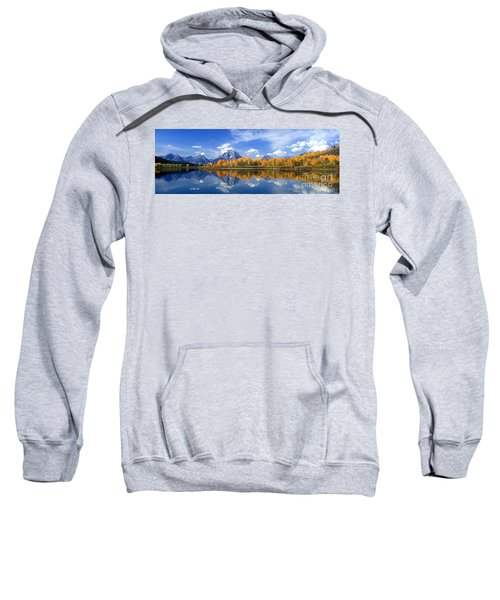 Panorama Fall Morning At Oxbow Bend Grand Tetons National Park Sweatshirt