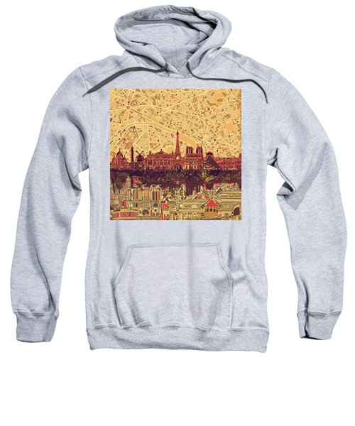 Paris Skyline Abstract Sepia Sweatshirt
