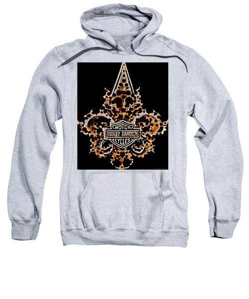 Perforated Fleurs De Lys With Harley Davidson Logo Sweatshirt