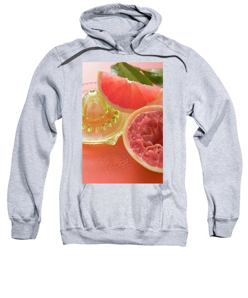 Pink Grapefruit Wedge, Squeezed Grapefruit, Citrus Squeezer Sweatshirt