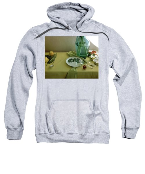 Plates, Apples And A Vase On A Green Tablecloth Sweatshirt