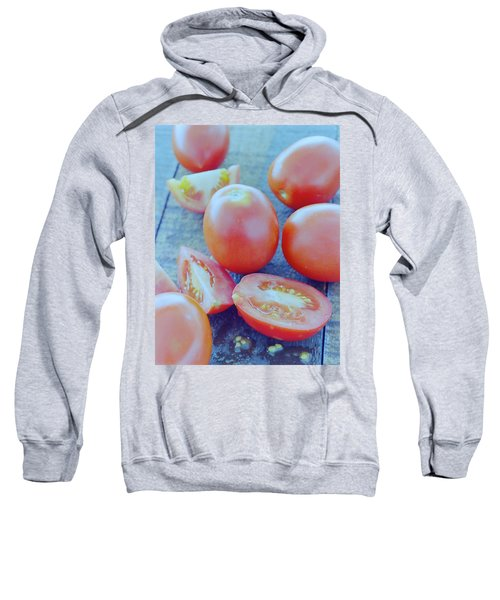 Plum Tomatoes On A Wooden Board Sweatshirt