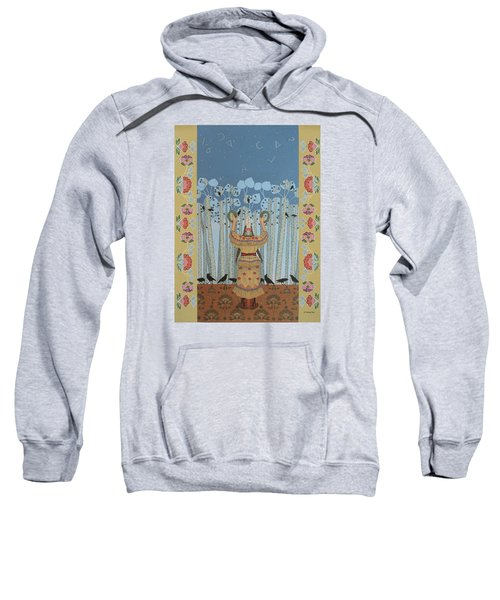 Sweatshirt featuring the painting Pondering Sacred Things - Manitoweyitamowin by Chholing Taha