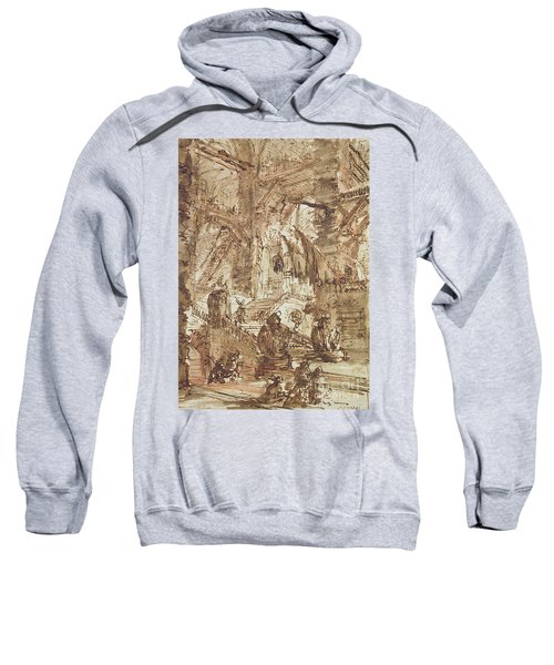 Preparatory Drawing For Plate Number Viii Of The Carceri Al'invenzione Series Sweatshirt by Giovanni Battista Piranesi