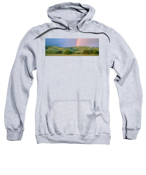 Rainbow And Rolling Hills In Central Sweatshirt