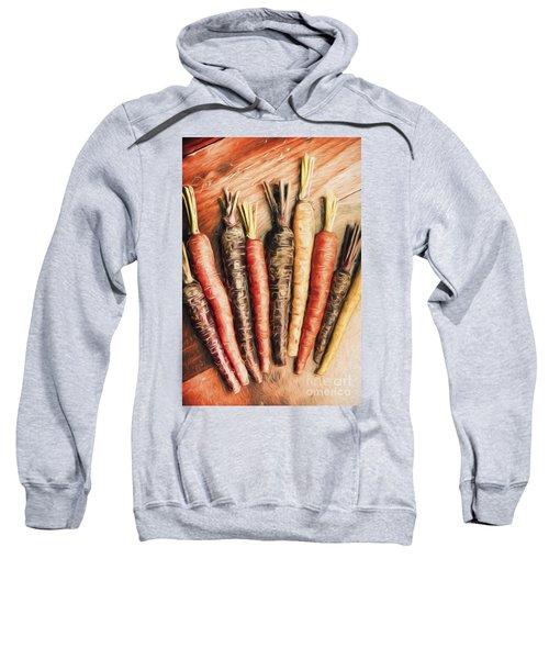 Rainbow Carrots. Vintage Cooking Illustration  Sweatshirt
