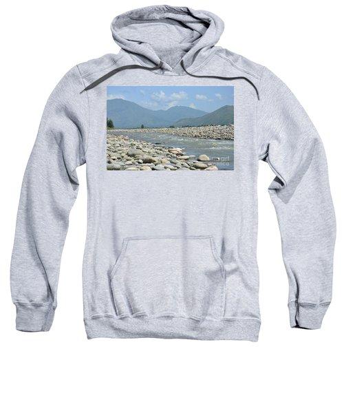 Riverbank Water Rocks Mountains And A Horseman Swat Valley Pakistan Sweatshirt