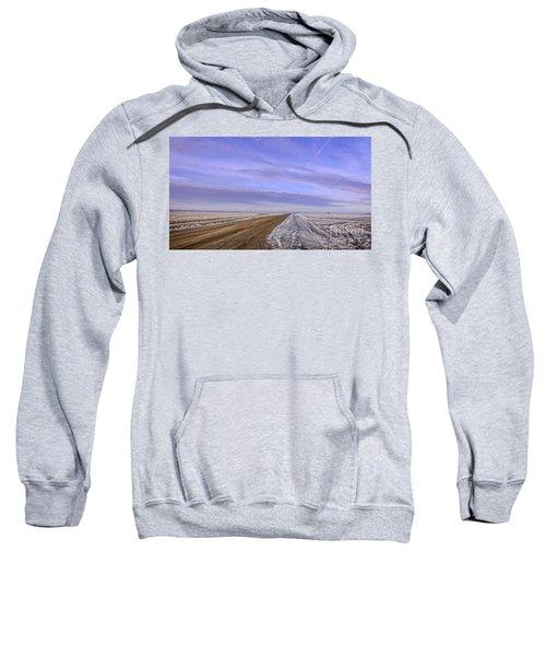 Road And Fild In Winter Time In Saskatchewan Sweatshirt