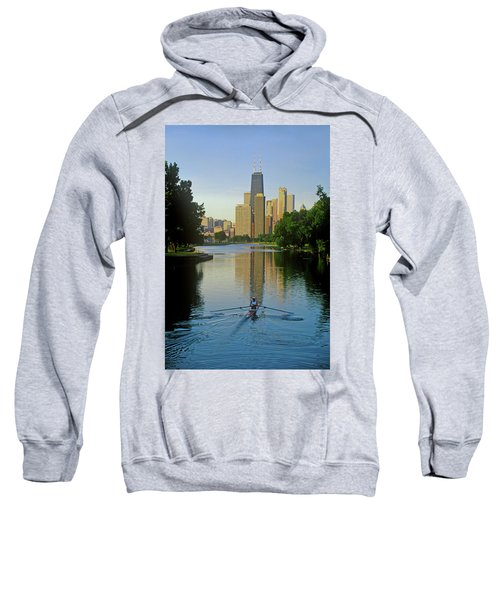 Rower On Chicago River With Skyline Sweatshirt
