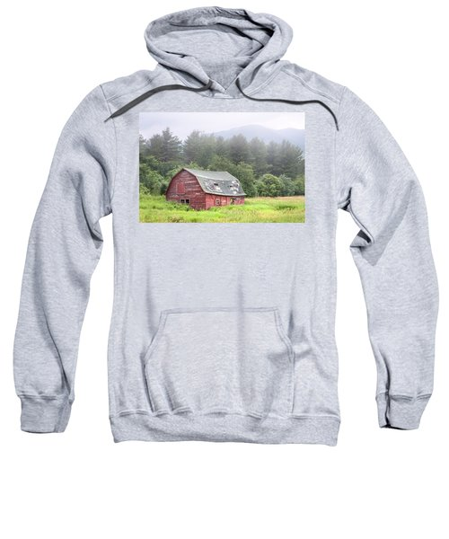 Rustic Landscape - Red Barn - Old Barn And Mountains Sweatshirt